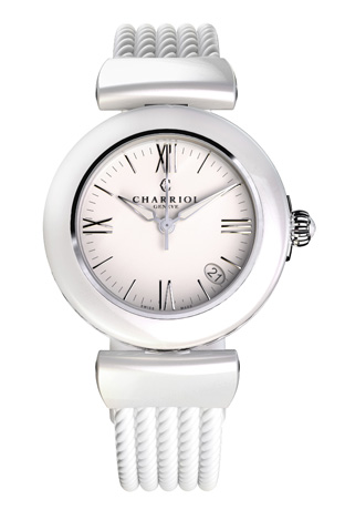 Charriol Ael watch in steel and white ceramic, with a white rubber strap, $960
