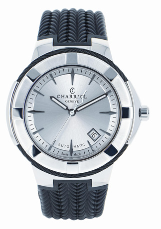 Charriol Celtic XL watch in steel with black PVD, 44 mm. face, a silver-colored dial, and a rubber strap, $2,650