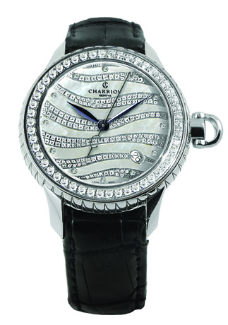 Charriol Colvmbvs automatic watch in steel with a 36 mm. face, 1.70 cts. t.w. diamonds, and a black crocodile strap, $12,090