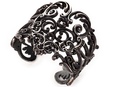 Oxidized silver cuff from Berlin Gothic collection by Jessica Kagan Cushman