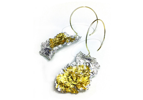 Emanuela Duca Sand Leaf earrings in silver and 23k gold retail for $1,300