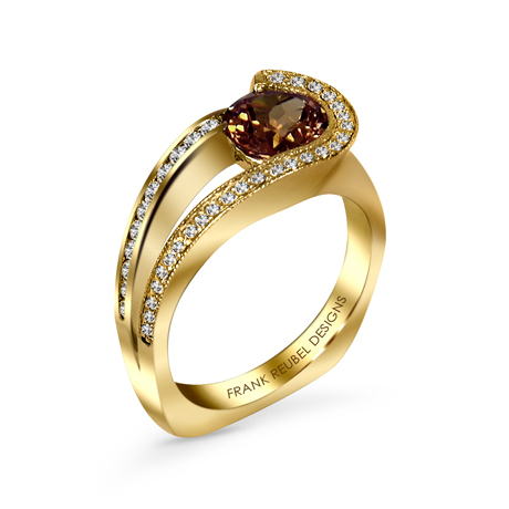 Frank Reubel Designs 14k gold, zircon, and diamond ring