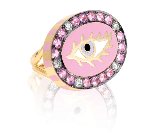 Pink Eye ring by Holly Dyment