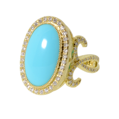 Jude Frances ring in gold with turquoise and diamonds