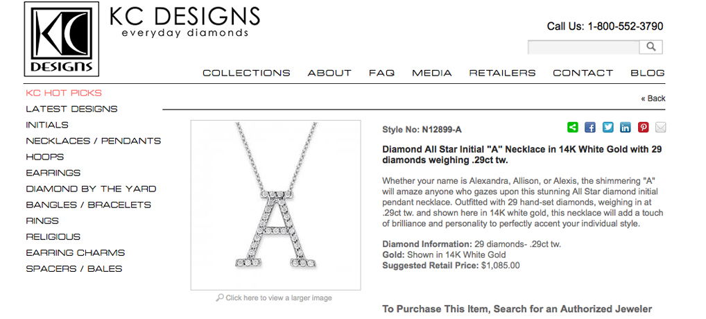 KC Designs diamond initial pendants