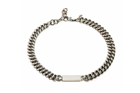 Loren Stewart silver chocker curb link ID necklace