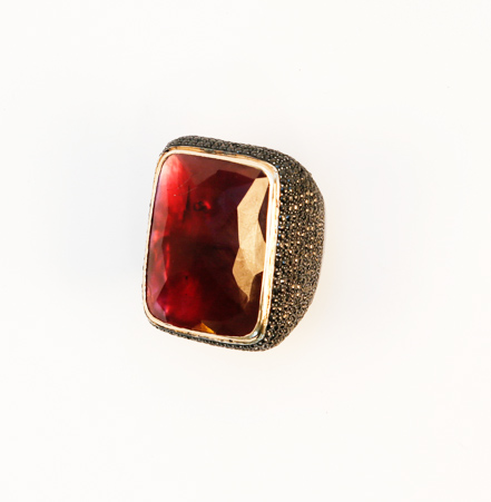 Ring in oxidized silver with garnet and black diamonds by Jessica Kagan Cushman
