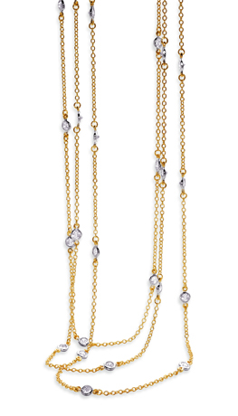 Station necklaces in gold-plated silver with CZ by Sterling Reputation