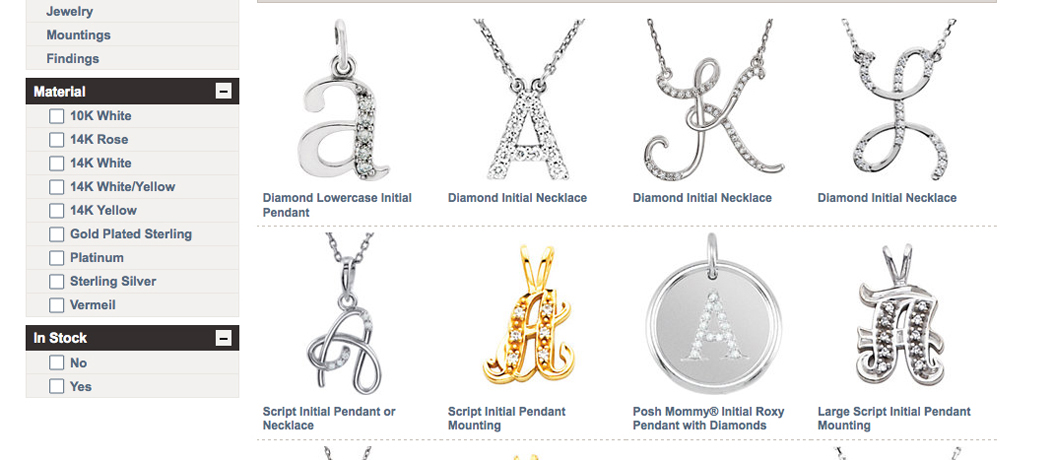 Stuller diamond initial pendants