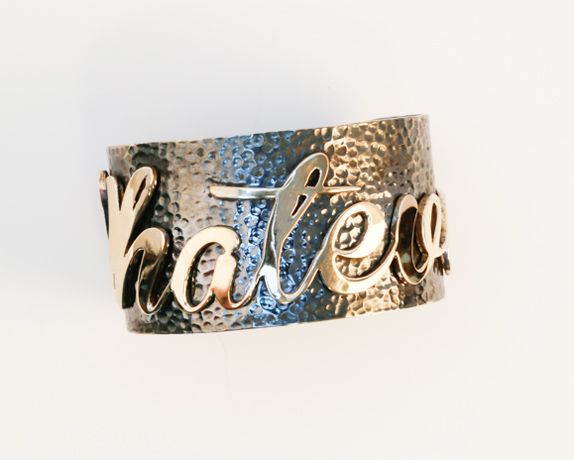 Whatever cuff in oxidized silver with 14k gold by Jessica Kagan Cushman