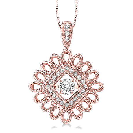 Rose gold and diamond EMotion moving pendant necklace from Ashi Diamond