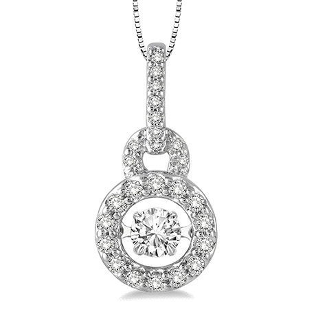 White gold and diamond EMotion moving pendant necklace from Ashi Diamond