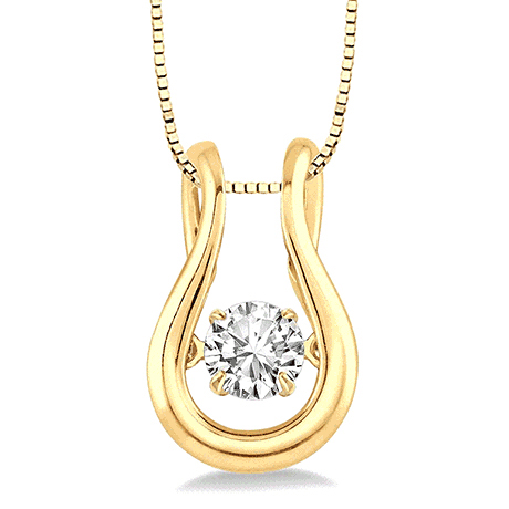 Yellow gold and diamond EMotion moving pendant necklace from Ashi Diamond