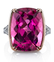 Omi Prive cushion pink tourmaline cocktail ring