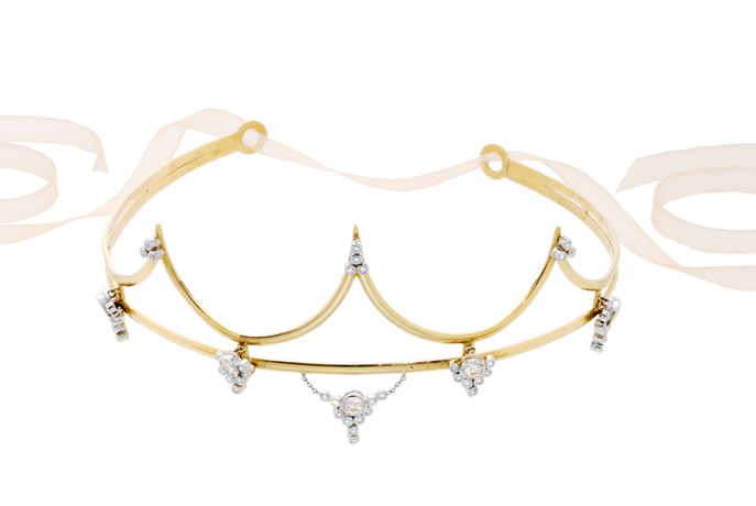 Karen Karch Coachella-inspired Floating Star tiara in 18k gold and diamonds
