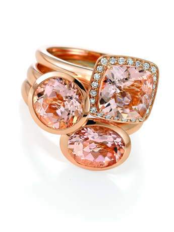 Gold rings with morganite and diamonds from Makur