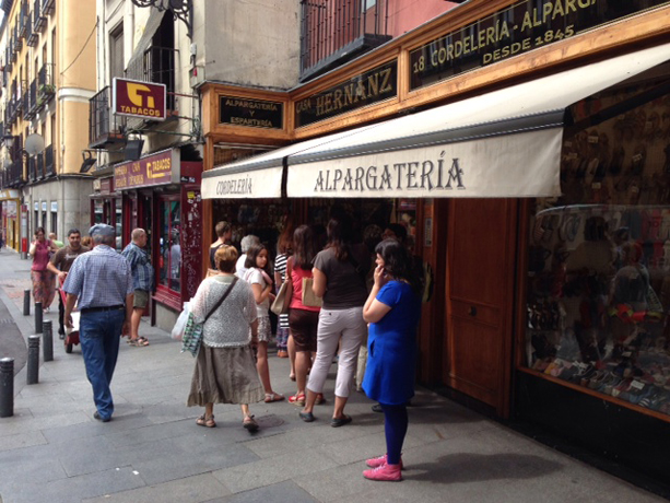 The oldest shoe store in Madrid dubbed Alpagatería, which had a line of customers out the door who wanted to buy espradilles