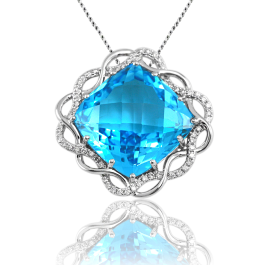 Pendant necklace in 14k gold with blue topaz and diamonds by Estenza
