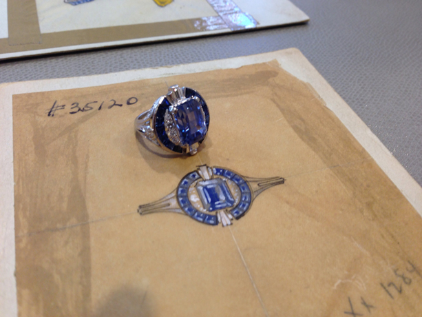 A sapphire ring from a private collection and its original sketch