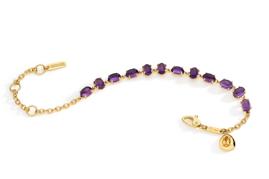 Corcovado bracelet in 18k gold with amethysts and a citrine accent by Brumani
