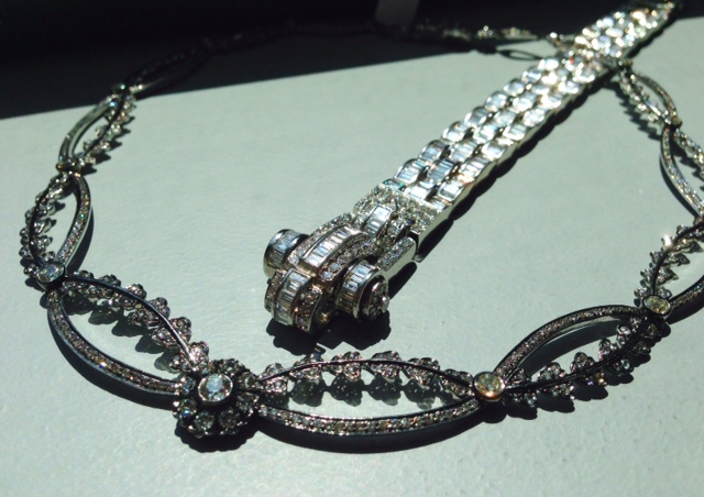 Gold and diamond necklace from Sethi Couture and platinum bracelet with diamonds from John Buechner
