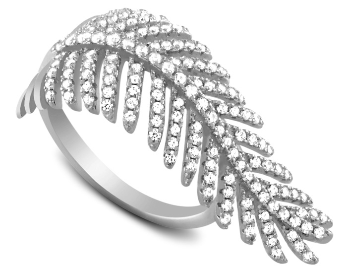 Charming Silver pave CZ feather ring