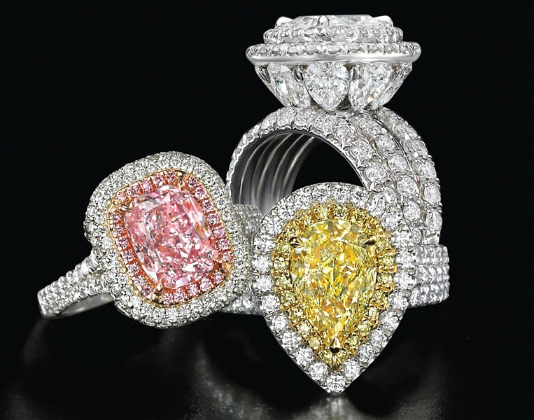 Charles Krypell Precious Pastel collection fancy diamond rings