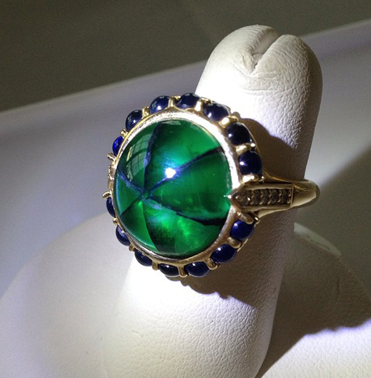 Ring with Trapiche emerald by Monica Rich Kosann