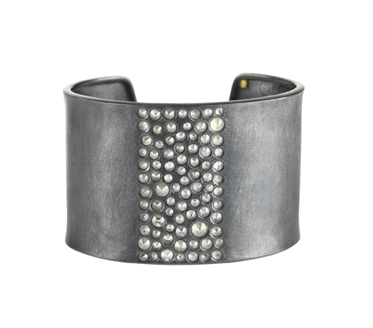 Cuff in oxidized silver from Todd Reed with diamonds
