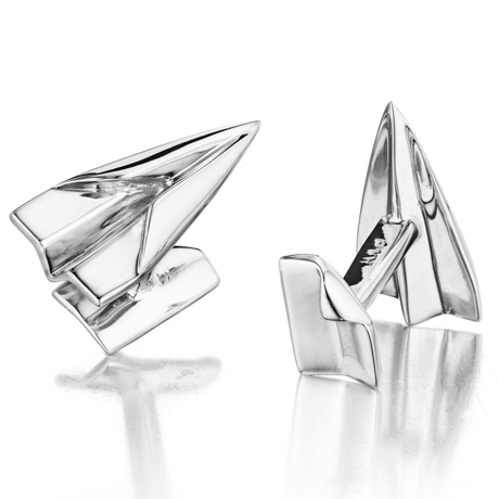 Airplane cufflinks in silver from Robin Rotenier
