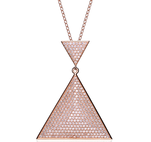 CZ Collections rose triangle CZ pendant