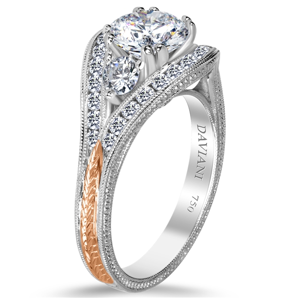 Daviani rose gold accent engagement ring