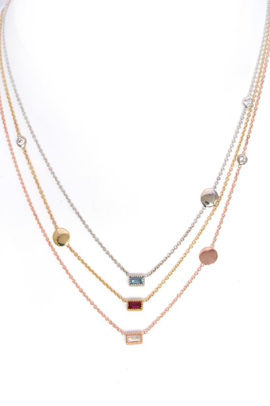 My Story disc necklaces in gold with birthstones and diamonds for moms from Jackie Cohen for Timeless Designs