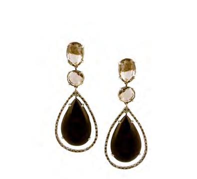 Brumani 18k gold earrings with smoky quartz