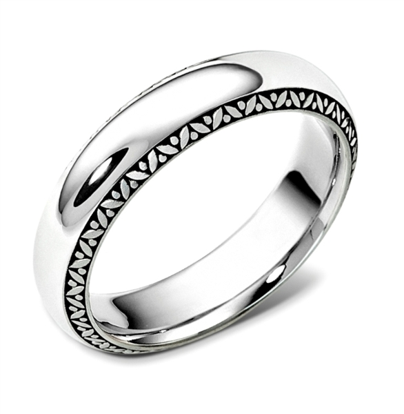 Dora International leaf edge Spartan wedding band