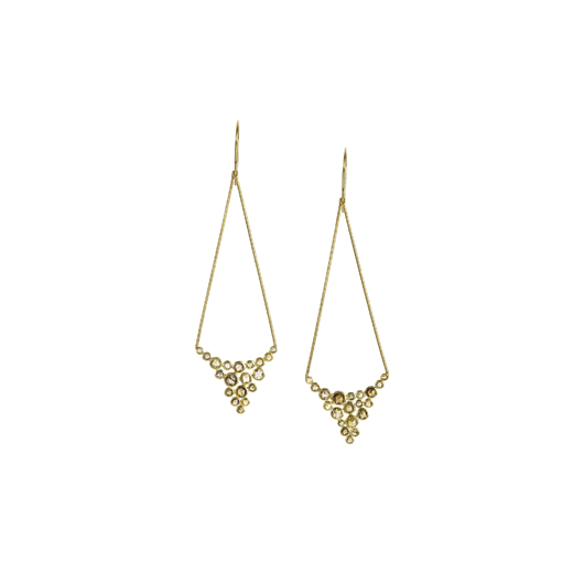 Drop earrings in 18k yellow gold with rose-cut diamonds by Todd Reed