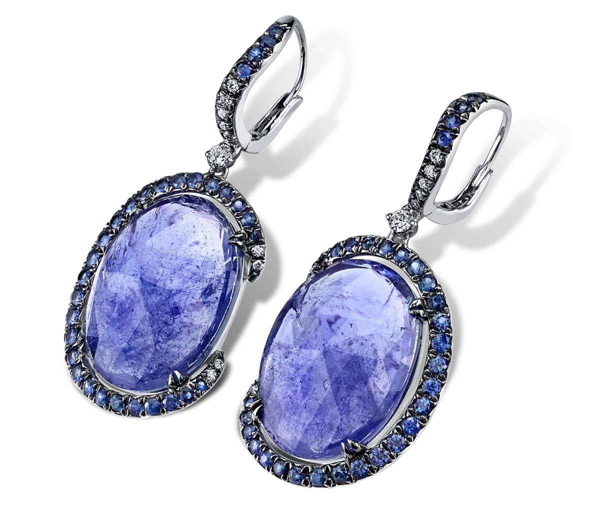 Parade Design tanzanite slice and sapphire earrings