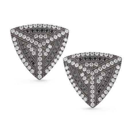 Jennifer Ann earrings in 14k gold with black and colorless diamonds by Dana Rebecca Jewelry