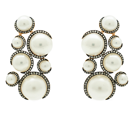 Candypop earrings in gold wtih pearls and diamonds by Christina Debs