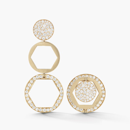Threepence earrings in 14k yellow gold with 1.12 ct. t.w. diamonds convert from studs to long drops, $8,500, Jade Trau