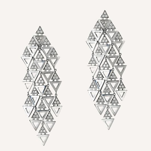 Triangle chandelier earrings in 14k gold with diamonds from Ilana Ariel Jewelry