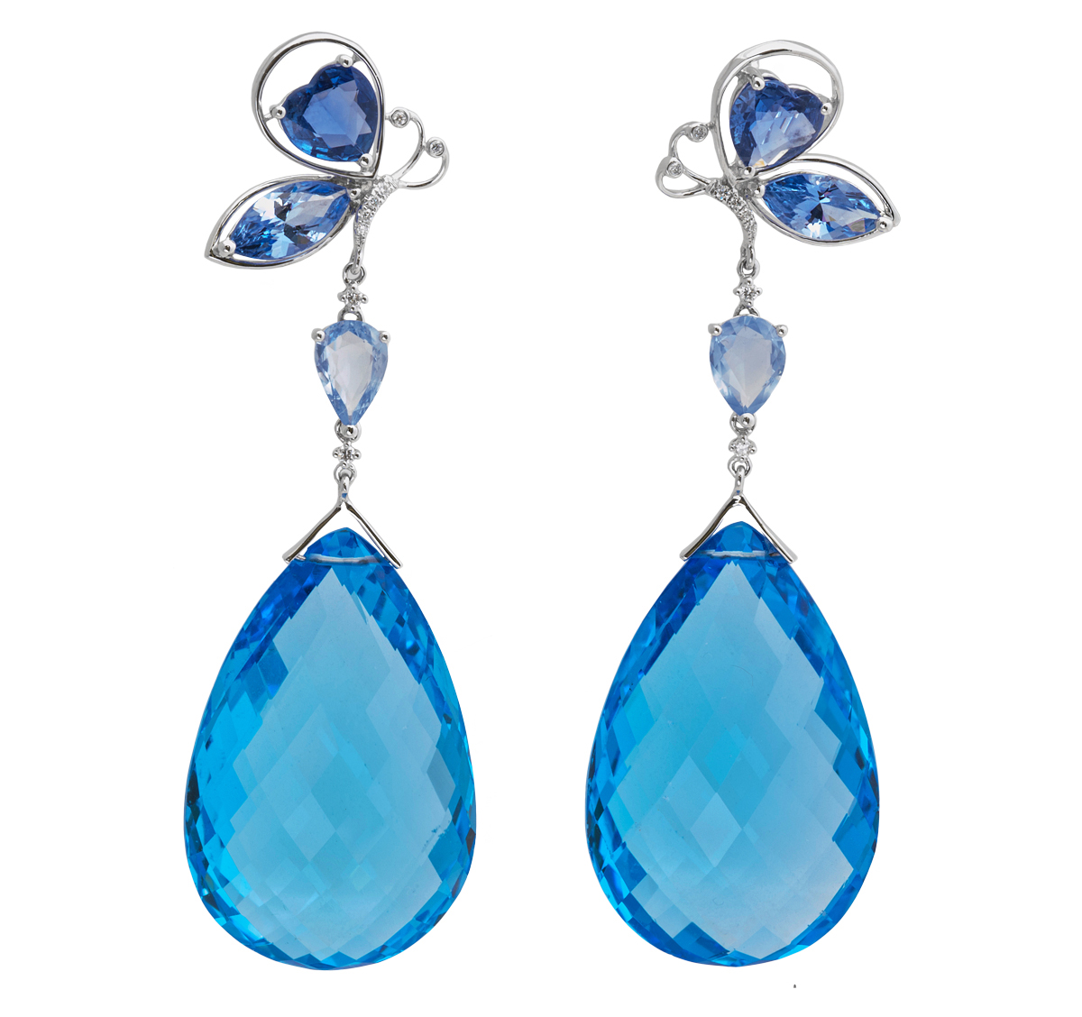 Jye Luxury collection blue topaz drop earrings