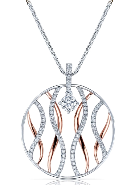 Elma Gil diamond wave circle pendant
