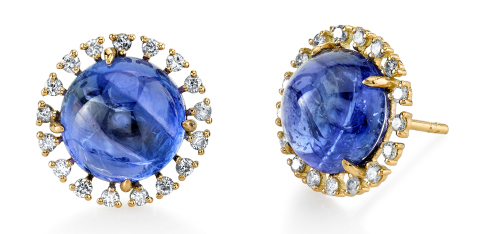 Bavna tanzanite and diamond stud earrings