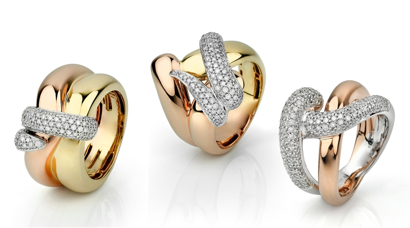 Facet Barcelona Woven Pave collection diamond rings