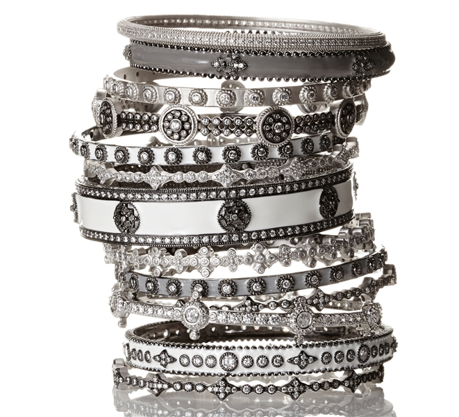 Freida Rothman black and silver stacking bangles