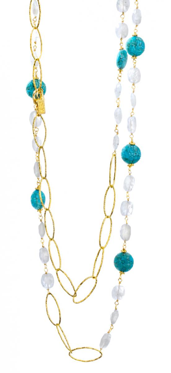Nina Nguyen Aloya carved turquoise and moonstone necklace