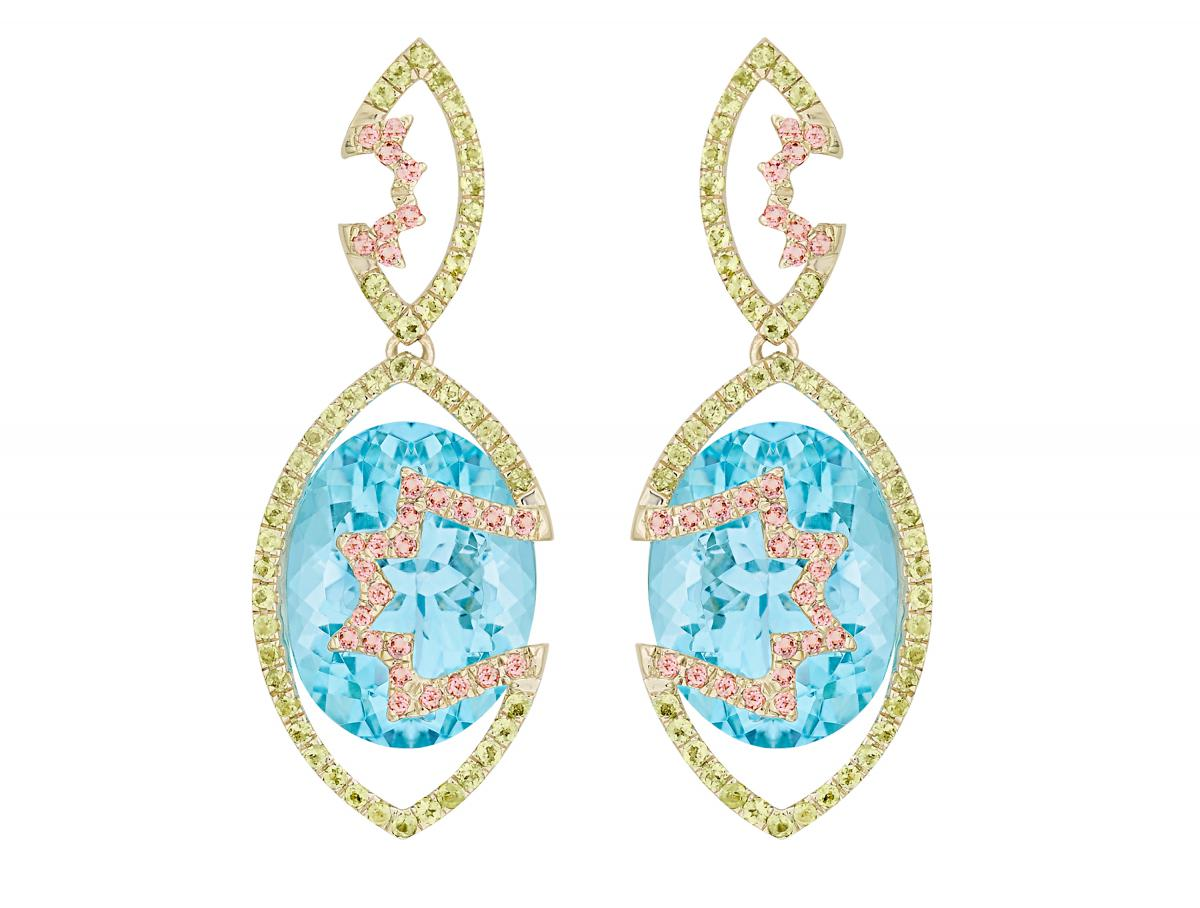 Arya Esha one-of-a-kind Swiss blue topaz earrings
