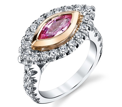 Gregorio pink sapphire marquise engagement ring