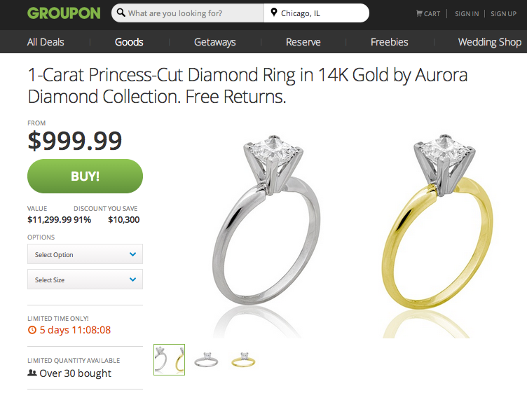 Groupon Says Its Selling Engagement Rings at 10000 Discount JCK